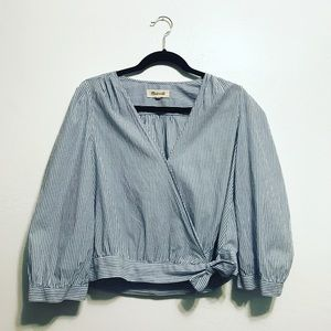 Madewell Striped wrap around blouse